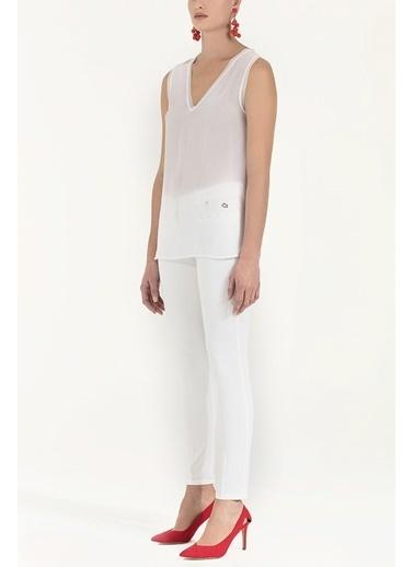 Societa Triko Bantlı Şifon Bluz  19333 Beyaz